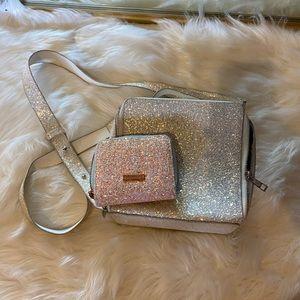Holo sparkle square crossbody bag& sparkle wallet
